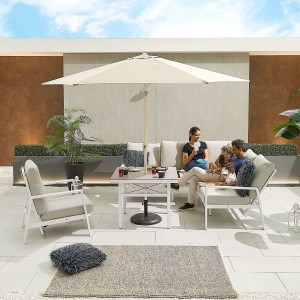 Nova - Enna Compact Corner Dining Set with Parasol Hole Table & Lounge Chair - White