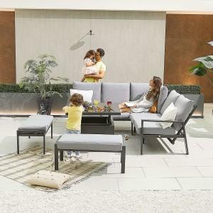Nova - Enna Compact Corner Dining Set with Rising Table & 2x Bench - Grey
