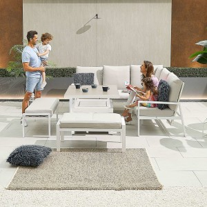 Nova - Enna Compact Corner Dining Set with Rising Table & 2x Bench - White