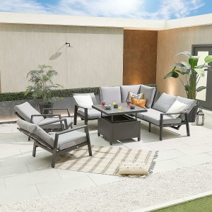 Nova - Enna Compact Corner Dining Set with Rising Table & 2x Lounge Chair - Grey