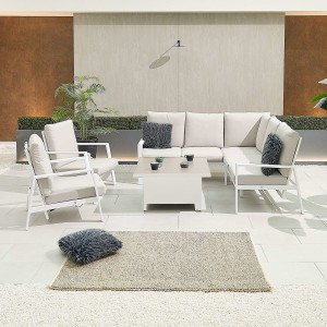 Nova - Enna Compact Corner Dining Set with Rising Table & 2x Lounge Chair - White