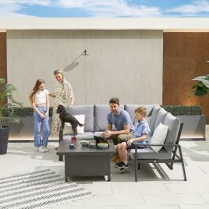 Nova - Enna Compact Corner Dining Set with Rising Table - Grey