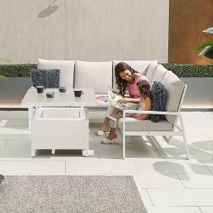 Nova - Enna Compact Corner Dining Set with Rising Table - White