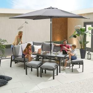 Nova - Enna Reclining Left Corner Dining Set with Parasol Hole & 3 X Footstools (P) - Grey