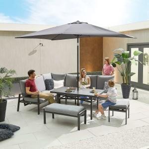 Nova - Enna Reclining Left Corner Dining Set with Parasol Hole & Bench & Footstool (P) - Grey