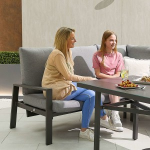 Nova - Enna Reclining Left Corner Dining Set with Parasol Hole & Bench - Grey