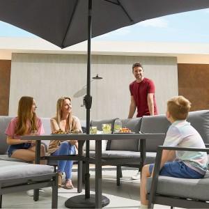 Nova - Enna Reclining Left Corner Dining Set with Parasol Hole & Lounge Chair & Bench (P) - Grey