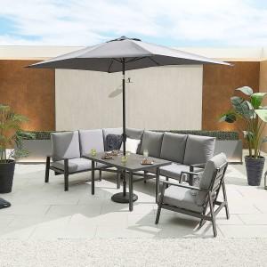 Nova - Enna Reclining Left Corner Dining Set with Parasol Hole & Lounge Chair - Grey