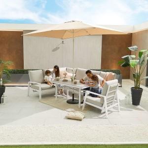 Nova - Enna Reclining Left Corner Dining Set with Parasol Hole & Lounge Chair - White