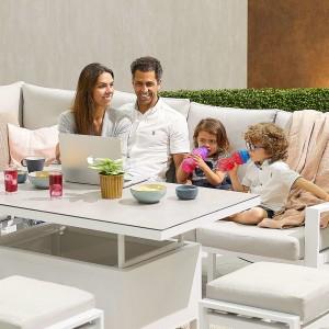 Nova - Enna Reclining Left Corner Dining Set with Rising Table & 3 X Footstools (P) - White