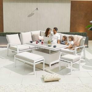 Nova - Enna Reclining Left Corner Dining Set with Rising Table & Bench & Footstool - White