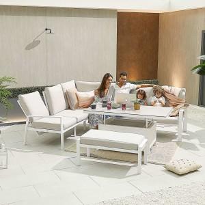 Nova - Enna Reclining Left Corner Dining Set with Rising Table & Bench - White