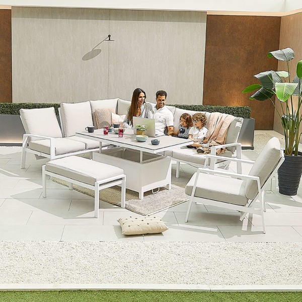 Nova - Enna Reclining Left Corner Dining Set with Rising Table & Lounge Chair & Bench - White