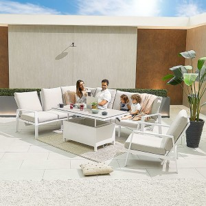 Nova - Enna Reclining Left Corner Dining Set with Rising Table & Lounge Chair - White