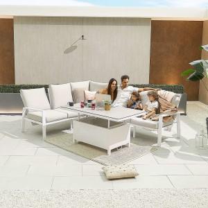 Nova - Enna Reclining Left Corner Dining Set with Rising Table - White
