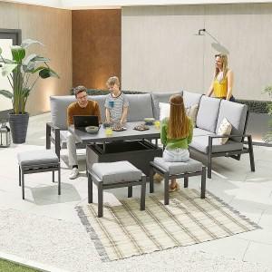 Nova - Enna Reclining Right Corner Dining Set with Rising Table & 3 X Footstools (P) - Grey