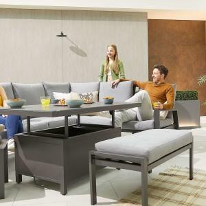 Nova - Enna Reclining Right Corner Dining Set with Rising Table & Bench & Footstool - Grey