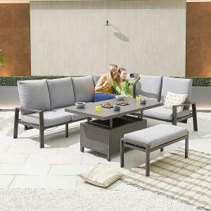 Nova - Enna Reclining Right Corner Dining Set with Rising Table & Bench - Grey