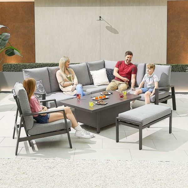 Nova - Enna Reclining Right Corner Dining Set with Rising Table & Lounge Chair & Bench - Grey