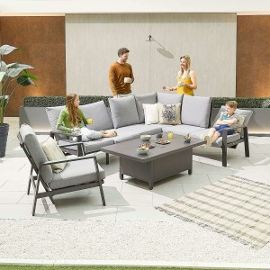 Nova - Enna Reclining Right Corner Dining Set with Rising Table & Lounge Chair - Grey