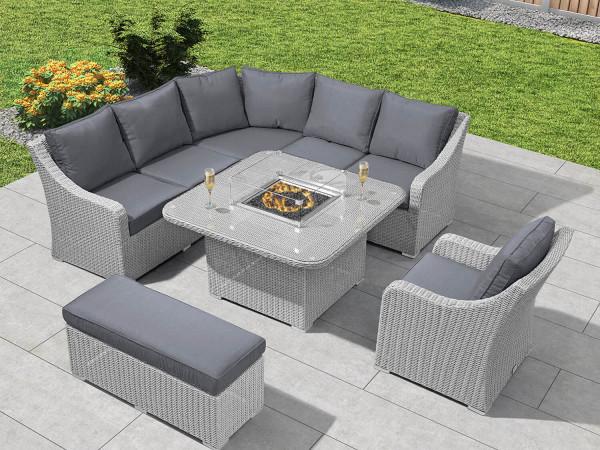 Nova Heritage Harper Deluxe Corner, Rattan Garden Furniture Set With Fire Pit Table