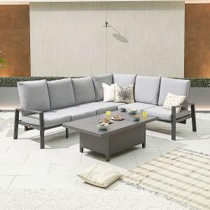 Nova - Enna Reclining Right Corner Dining Set with Rising Table - Grey