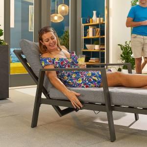 Nova - Enna Sun Loungers Set with Arms & Side Table - Grey