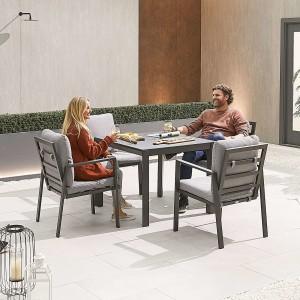 Nova - Enna Aluminium 4 Seat Square Dining Set - Grey