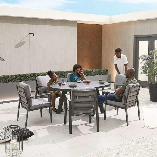 Nova - Enna Aluminium 6 Seat Oval Dining Set - Grey