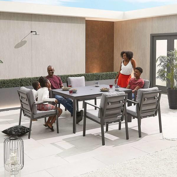 Nova - Enna Aluminium 6 Seat Rectangular Dining Set - Grey
