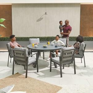 Nova - Enna Aluminium 6 Seat Round Dining Set - Grey