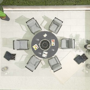 Nova - Enna Aluminium 6 Seat Round Dining Set with Firepit - Grey