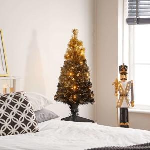 3ft Fibre Optic Eclipse Black & Gold Artificial Christmas Tree