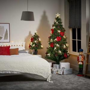 3ft Fibre Optic Poinsettia Artificial Christmas Tree