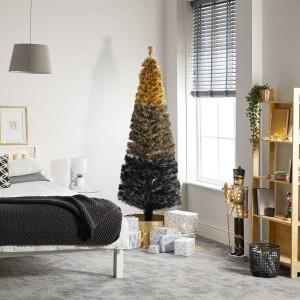 4ft Fibre Optic Eclipse Black & Gold Artificial Christmas Tree