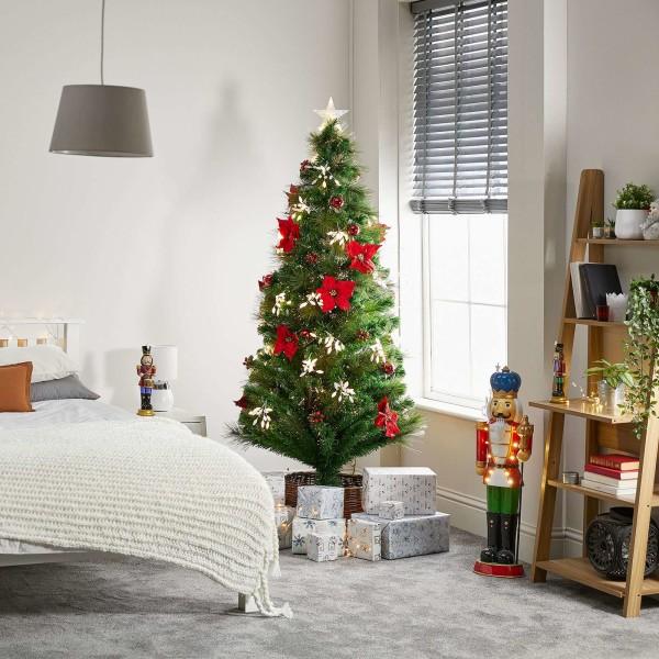 5ft Fibre Optic Poinsettia Artificial Christmas Tree