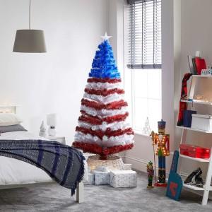 5ft Fibre Optic Stars & Stripes Artificial Christmas Tree
