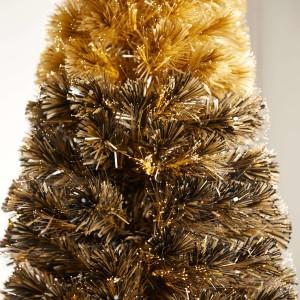6ft Fibre Optic Eclipse Black & Gold Artificial Christmas Tree