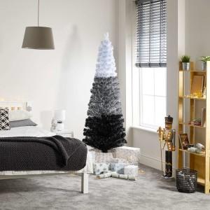 6ft Fibre Optic Eclipse Black & White Artificial Christmas Tree