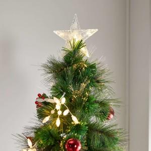 6ft Fibre Optic Poinsettia Artificial Christmas Tree