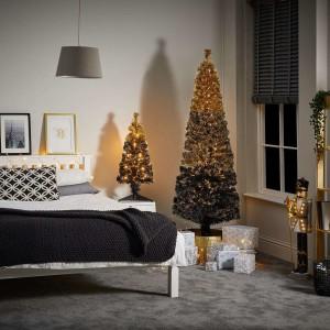 7ft Fibre Optic Eclipse Black & Gold Artificial Christmas Tree