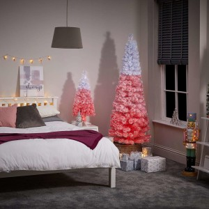 7ft Fibre Optic Eclipse Pink & White Artificial Christmas Tree