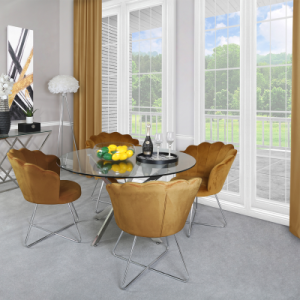 Chimes - Deana Chrome And Glass Dining Table