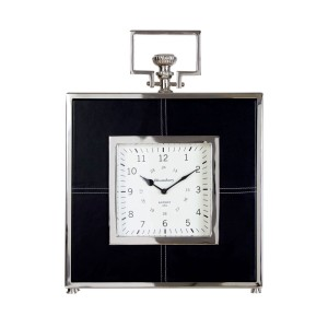 Chimes - Knightsbridge Black Leather Mantel Clock
