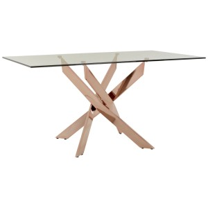 Chimes - Deana Rectangular Rose Gold Dining Table