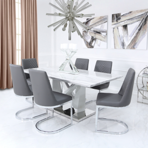 Chimes - Chloe Rectangle Marble Effect Dining Table