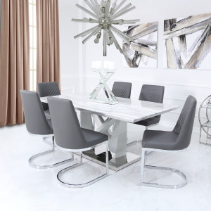 Chimes - Chloe Marble Effect Dining Set With 6 Chevron Chairs