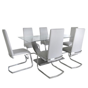 Chimes - Leonardo Dining Set With 6 Grey Dining Chairs