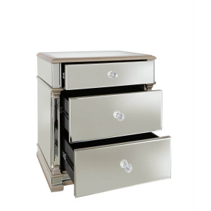 Chimes - Anne-Marie Champagne Mirrored 3 Drawer Cabinet