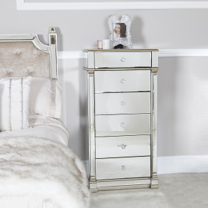 Chimes - Anne-Marie Champagne Mirrored 6 Drawer Tallboy Cabinet